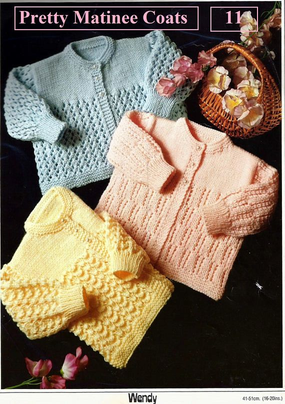 """fits 16-18/"""" cute Knitting Pattern Baby 3ply Vintage dress and Cardigan"""