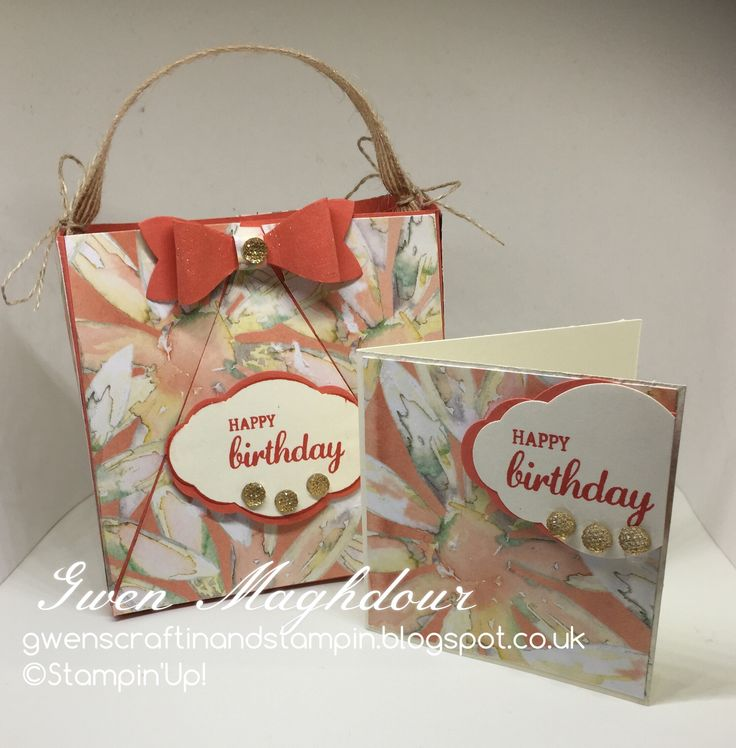 Daisy Delight gift bag and card gwenscraftinandstampin