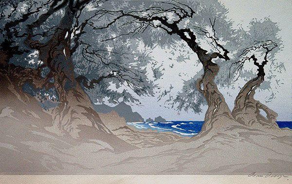 ✨ Oscar Droege (1898-1983) - Blaue See, Farb-Holzschnitt ::: Blue Sea, Colour…