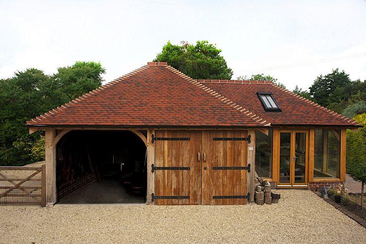 Two bay oak garage with studio Oak framed buildings