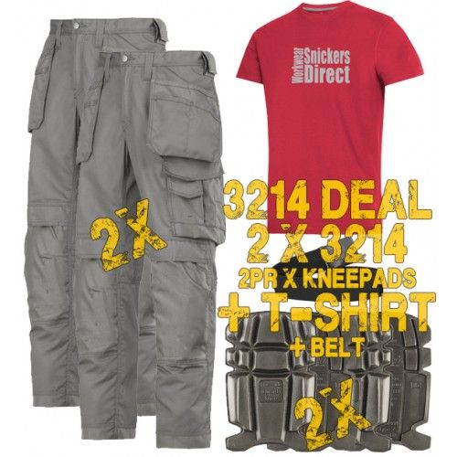 Snickers 2 x 3211 Kit Inc Snickers Direct TShirt, 2 x 9111 Kneepads A PTD Belt, 3211 Snickers Trousers