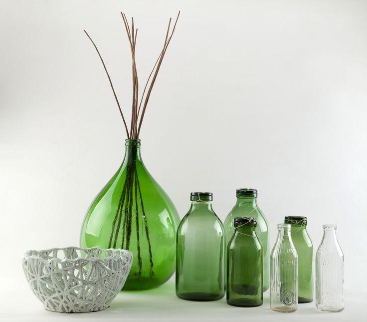 damigiane e bottiglie in vetro soffiato