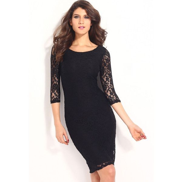Pretty Lady Black Lace Overlay Evening Midi Dress ($22) ❤ liked on Polyvore featuring dresses, midi cocktail dress, evening cocktail dresses, calf length dresses, mid calf cocktail dresses and holiday dresses