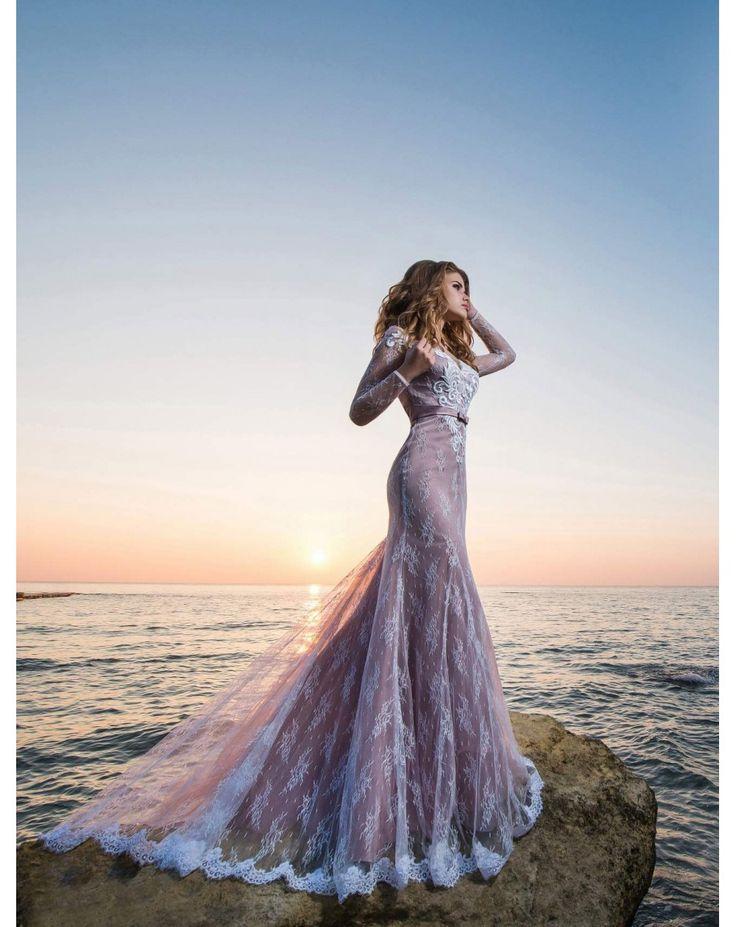 Dlhé čipkované spoločenské šaty ADRIANA v štýle morská panna
