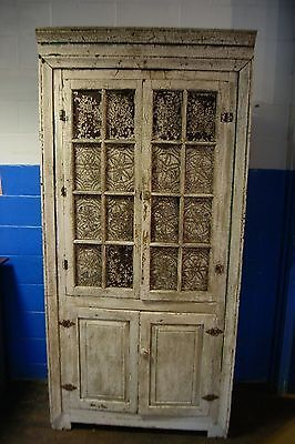 1800's Corner Cupboard 16 Tin Pie Safe Old White over Old Green Crackled Paint in Antiques, Furniture, Cabinets & Cupboards, 1800-1899 | eBay