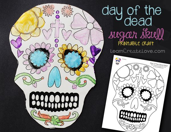 Printable Day Of The Dead Sugar Skull Coloring Sheet Dia