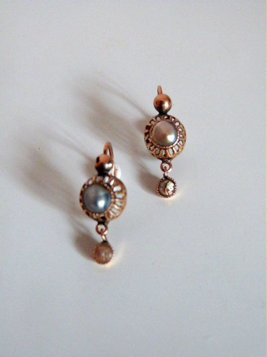 Españoles pendientes antiguos s.XVIII realizados en oro de 14k y perlas de altayes en Etsy