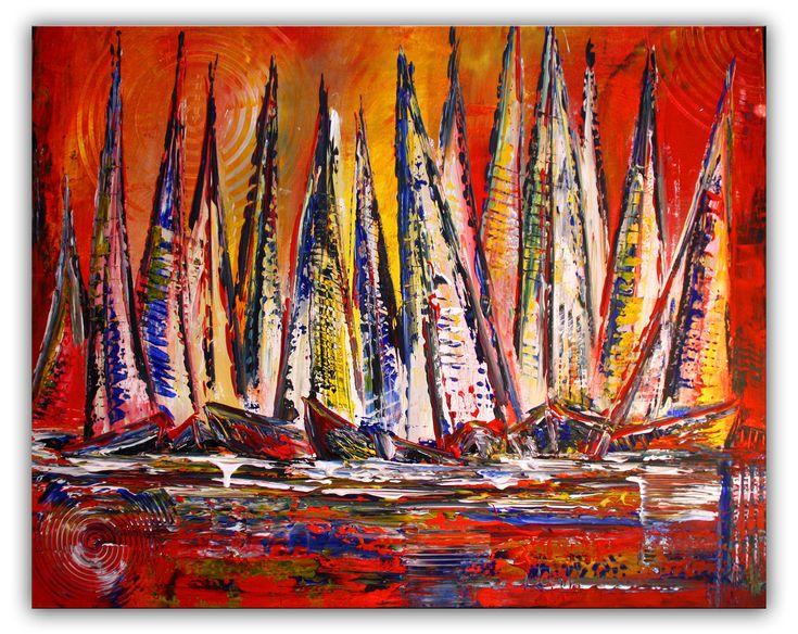 Segelboote abstrakt mit Struktur - Moderne Malerei, Maritimes Gemälde 80x100 #segelbootegemalt #segelboote #segelboothandgemalt #handgemalteboote  #segelbooteabstrakt #abstraktboote #bootegemalt #bootegemälde #gemäldesegelboot