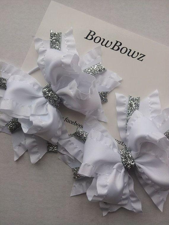 Beautiful Double Ruffle Satin Hair Bow Boutique Bows, Hair Clips or Bobble Headband x 1 on Etsy, $6.15