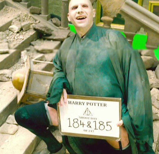 Voldemort wearing garter belts. The actor Ralph Fiennes wore gartor belts under his costume to tease the stunt team when they got to macho.