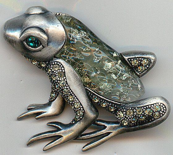 Vintage Frog Brooch  Rhinestones Green by Angieswonderfulgems, $20.00