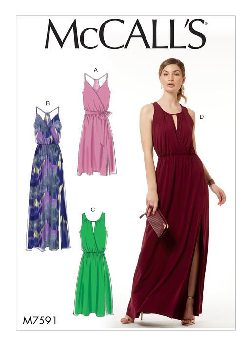 McCall's sewing pattern M7591: Misses' Sleeveless Pullover Surplice-Style Dresses, Sash, and Length Variations