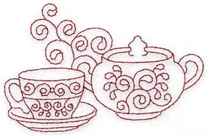 Teacup and sugar bowl redwork (AITE129) Embroidery Design by Adorable Ideas