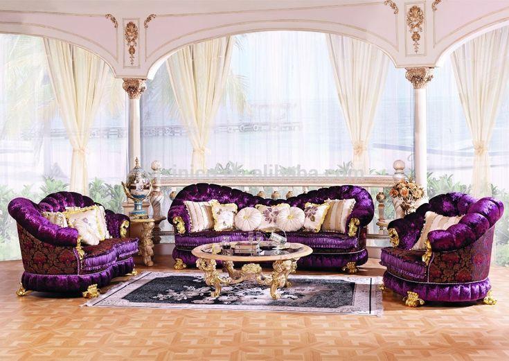 Estilo barroco de luxo sala de estar mobiliário sofá Set / europeus clássico escultura em madeira botão roxo sofá adornado todo o conjunto na venda-imagem-Sofás para sala de estar-ID do produto:60227179657-portuguese.alibaba.com