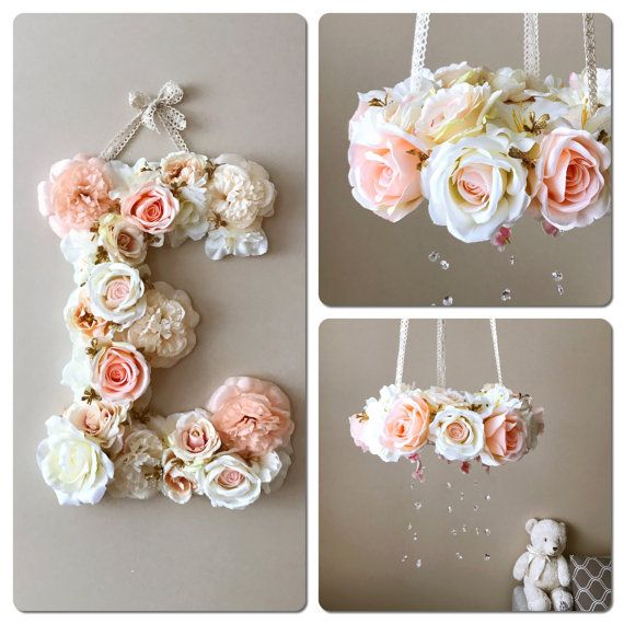 Baby mobile and matching 18 flower letter Floral by PaulettaStore