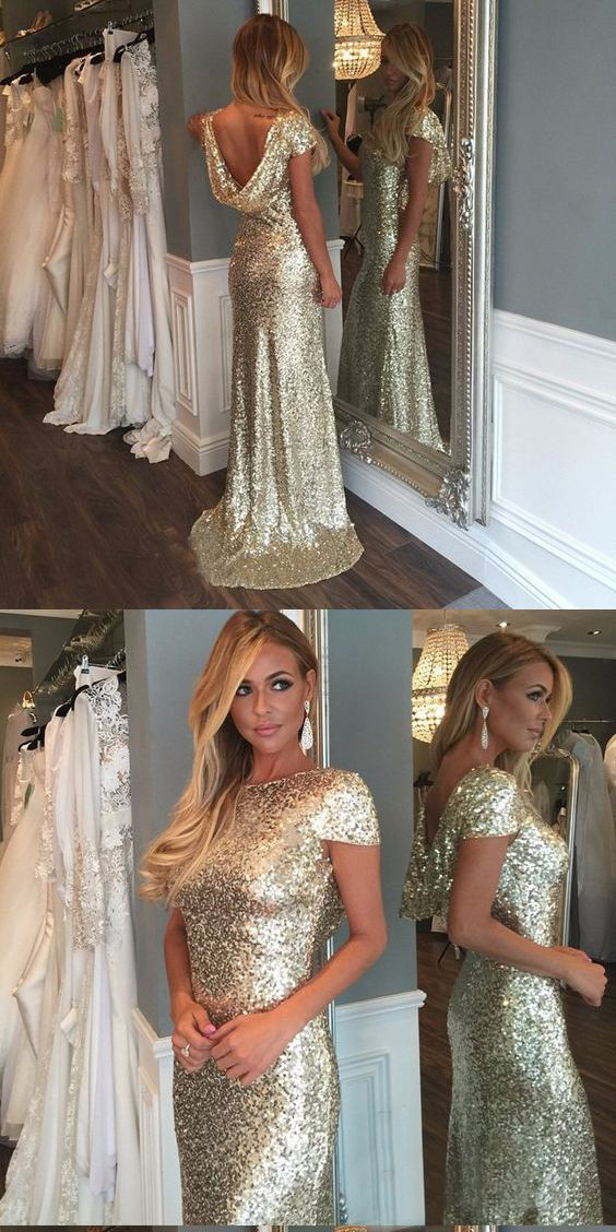 Elegant Gold Sequined Prom Dress,Short Sleeves Evening Dress,Bateau Neckline Prom Dress,Backless Prom Dress,Floor Length Evening Dress