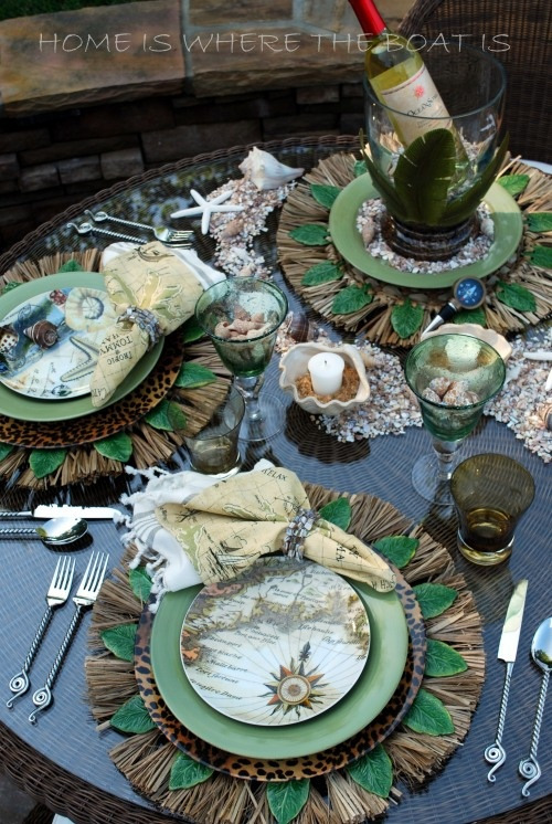 Tropic of Tommy Bahama tablescape from the blog Home is Where the Boat Is (LOVE this!)