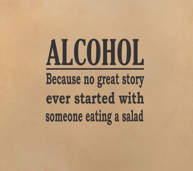 Alcohol - Great Story wall decal  -  funny quote lol home decor man cave basement