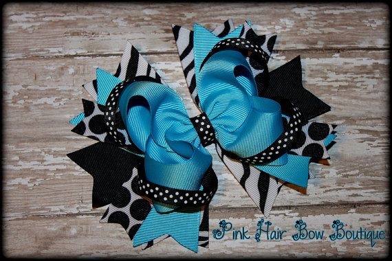 Turquoise and Black Boutique Hair Bow  Big by PinkHairBowBoutique