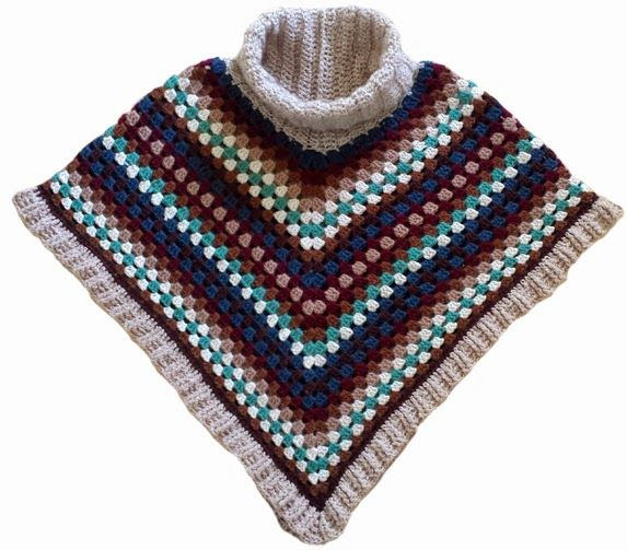 Cowl-neck poncho. Free pattern and YouTube tutorial of crochet (not knitted) border stitch. By Handwerkjuffie.