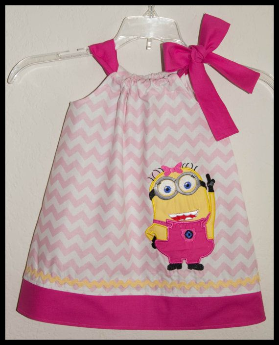 Super Cute Minion Girl  applique Dress Light pink Chevron and Hot Pink on Etsy, $26.00