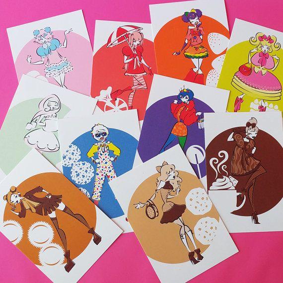 Harajuku Sweets Kawaii Fashion Postcard Print Set of 10
