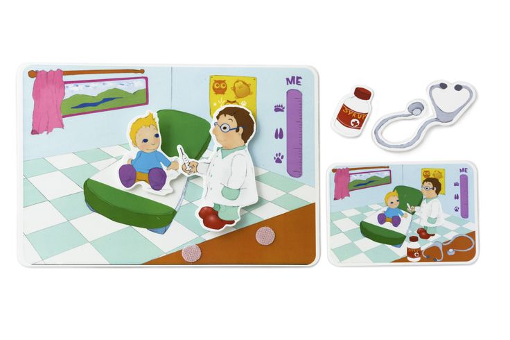 Picnmix- People at Work- Doctor's Card- What can we find in the room when we visit the doctor? What are his tools called? What are they used for?