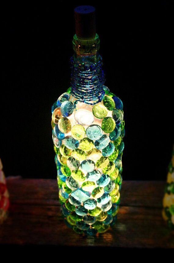 Wine Bottle Night Light Blue/Green via Etsy