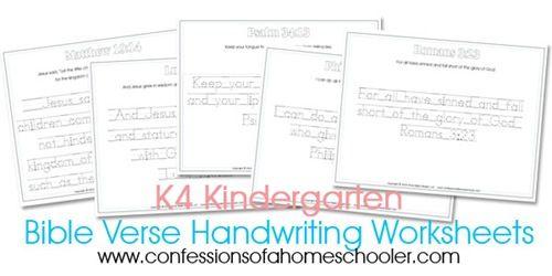 Kindergarten Bible Verse Handwriting Sheets