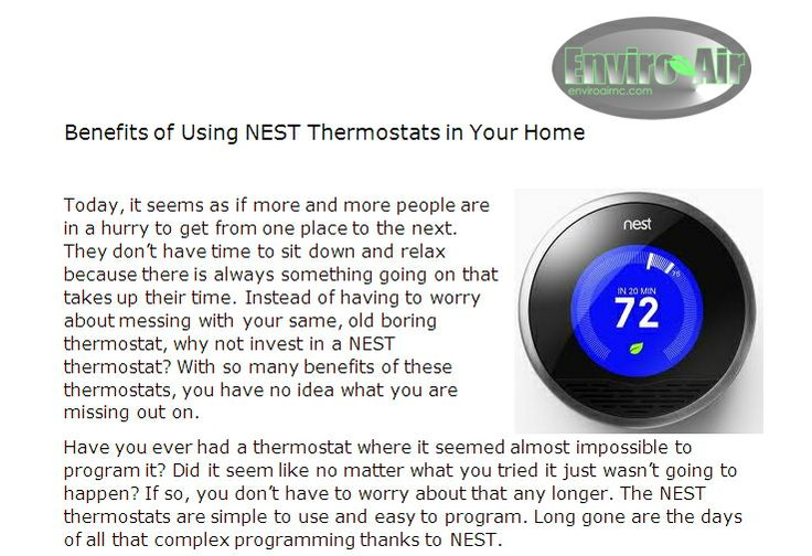 Enviroairnc Com  Benefits  The Nest Thermostats Are Simple To