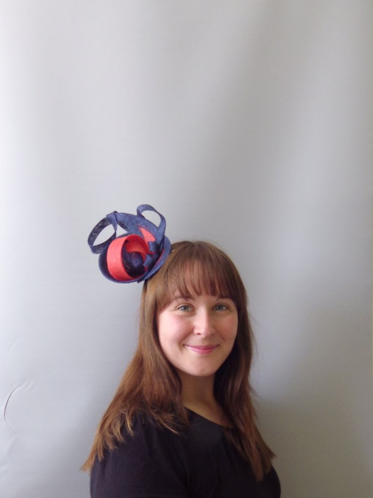 Navy Blue and Orange Fascinator Cocktail Hat. Sinamay Straw Head Piece Headband. For Weddings, Races, Derby etc. by SophieShields on Etsy