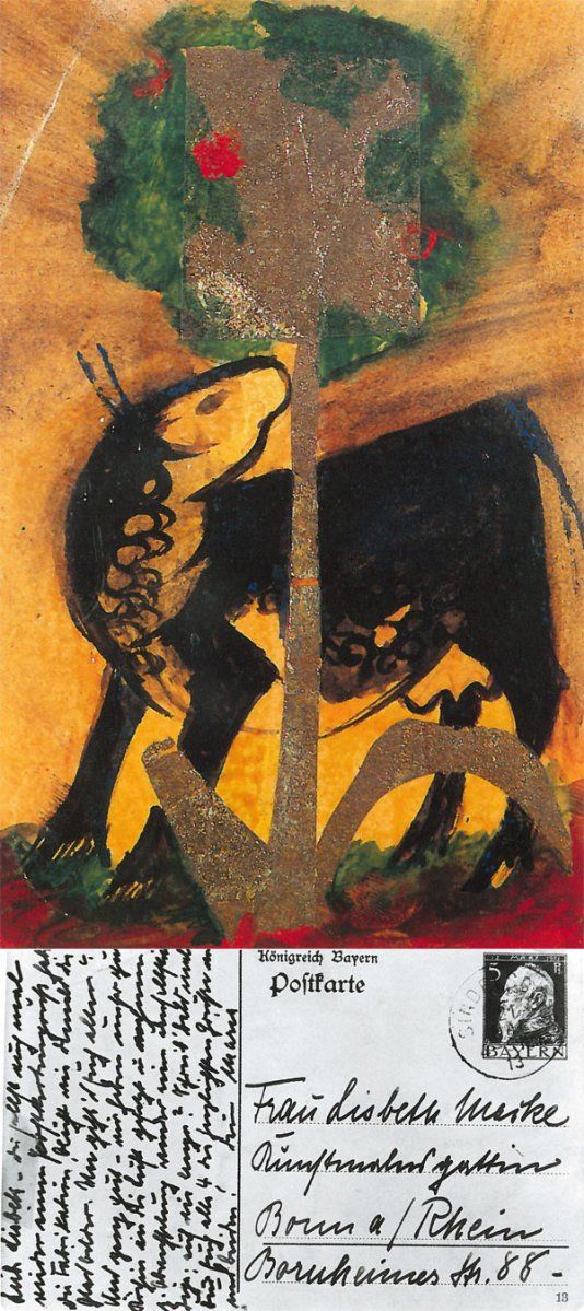Postcard by Franz Marc - Black Cow Behind a Tree, postcard written by Maria Marc (Franz Marc' wife)