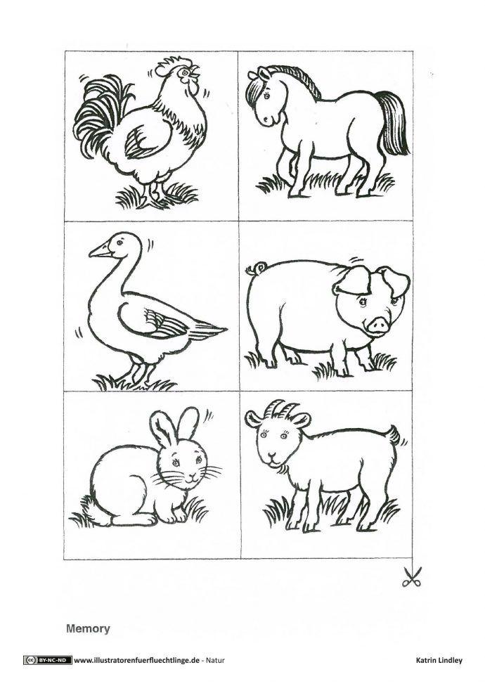 Download Als Pdf 2 Seiten Natur Bauernhof Tiere Memory Lindley Farm Animals Farm Animals Preschool Farm Animal Coloring Pages
