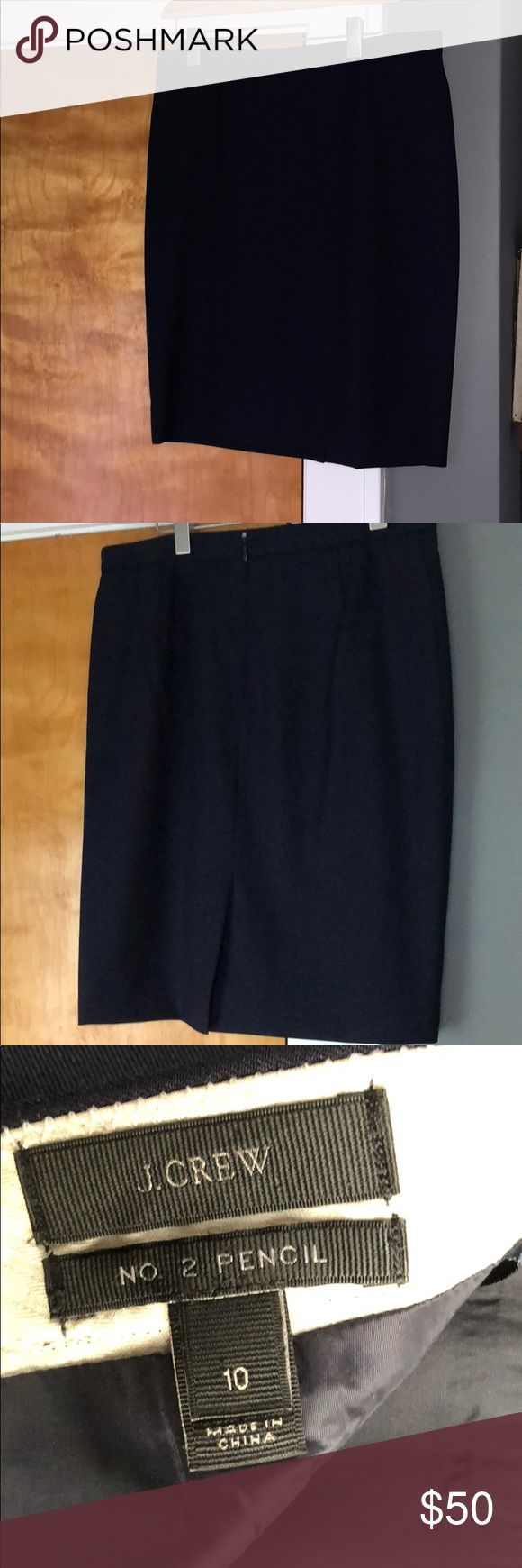 J. Crew all season wool No. 2 Pencil Skirt Classic Navy Pencil Skirt that will never go out of style!  Excellent Used Condition.  Flawless. J. Crew Skirts Pencil