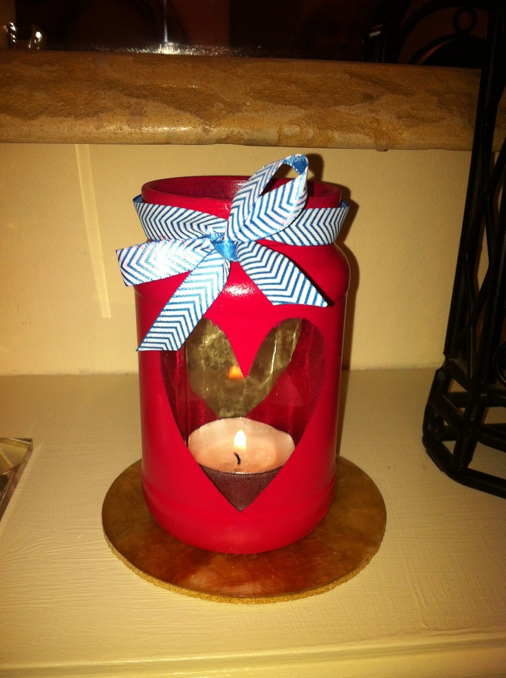 Give old jam jars a new life with some spray paint and ribbon!