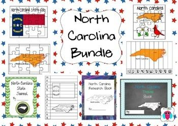 This is a bundle of 8 of AJ Berg's North Carolina teaching resources.   This set includes a travel journal, a research state facts book, journal writing pages and maps.Title page font credit: kevinandamanda.comBackground credit:https://www.teacherspayteachers.com/Store/Zip-a-dee-doo-dah-DesignsIf you want more individual resource information please type AJ Bergs and the state name in the search engine.