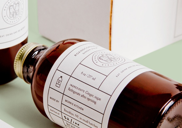 Packaging In Brief: RoAndCordials - a ginger syrup gift packed and branded under a classic medicinal theme.