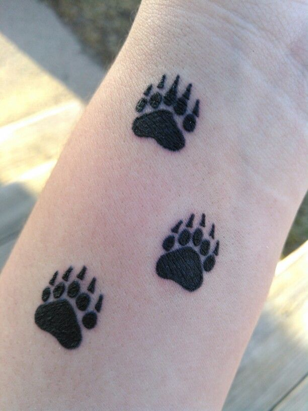 Watercolor Bear Paw Tattoo