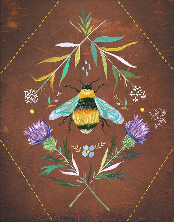 Bee Art Print  Insect Painting  Nature Wall Art  by thewheatfield