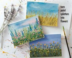 Let Your Paint Splatters Bloom Into Flower Gardens | A Step-by-Step Tutorial. Create detailed flower garden paintings quickly with little to no drawing experience necessary.