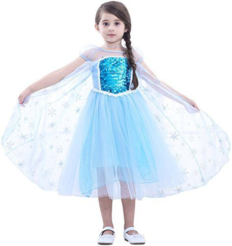 6ca88638f06f Cotrio Elsa Dress Toddlers Dress Up Princess Halloween Costume for Girls  Party Dresses (Blue)