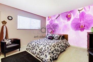 Фотообои в спальню, цветы, фиолетовые орхидеи, ветка.Фотообои на заказ art-oboi.com.ua
