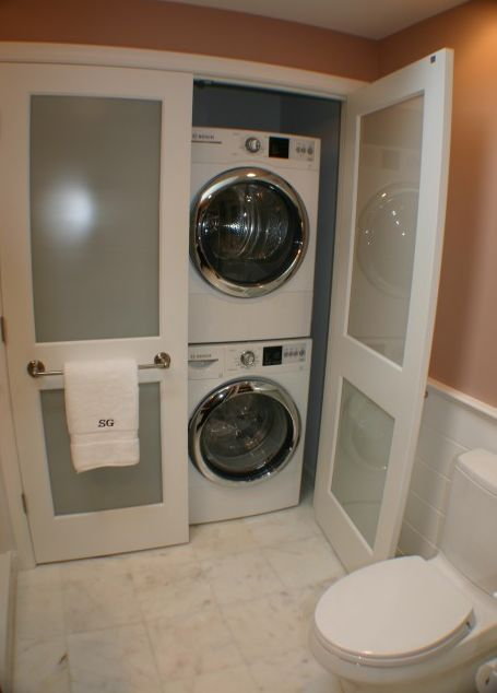 By doing this you could turn the laundry room into another bathroom.  You can never have too many bathrooms.