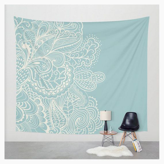 Wall Tapestry Lace Paisley Design Teal Blue by LoveThatTooMuch