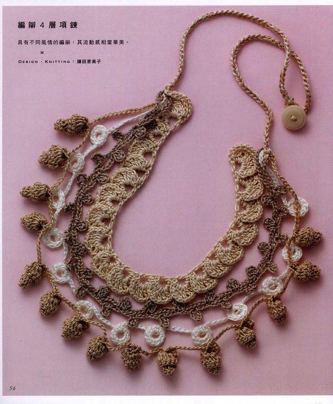 Schematic for crochet multi strand necklace. Entre um Fio e Outro: Colar em Crochê