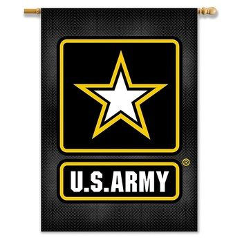 US Army 2 Sided Vertical Black Banner Flag