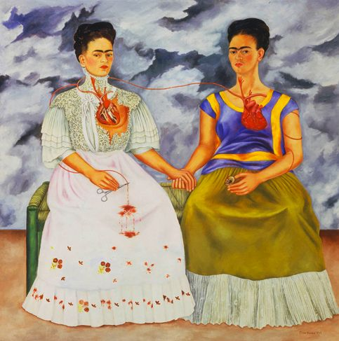 Frida Kahlo, Two Fridas (1939). Frida Kahlo painted one of her most famous pictures shortly after Rivera divorced her. It is a painting about her profound isolation and her conflicted sense of herself.