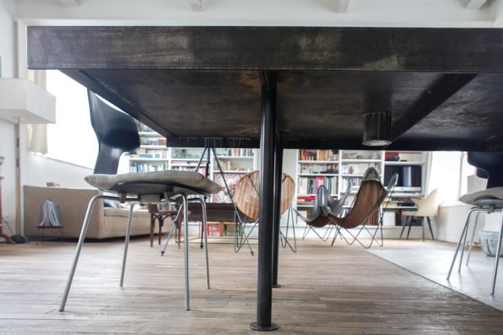 Table with a vase in it!  House Call with Cécile Daladier and Nicolas Soulier in Paris, Remodelista