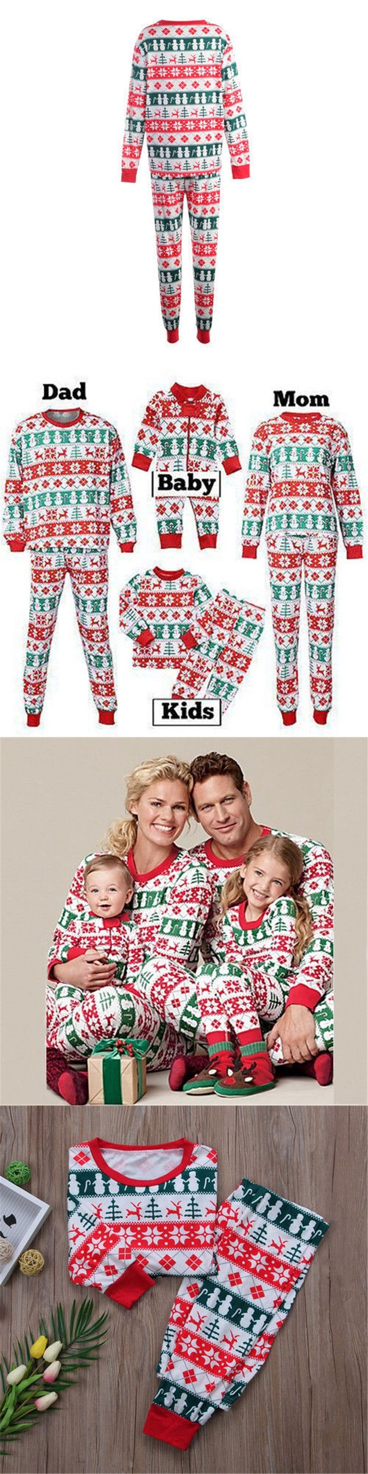 Family Matching Christmas Pajamas Set 2017 New Bebes Xmas Women Men Baby Kids Sleepwear Nightwear Cute Family Match Pyjamas Sets