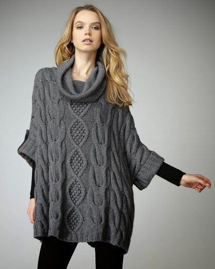 Women knitted poncho